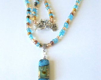 Pendant Necklace, Lampwork Pendant Necklace, Blue and Gold Seed Bead Necklace