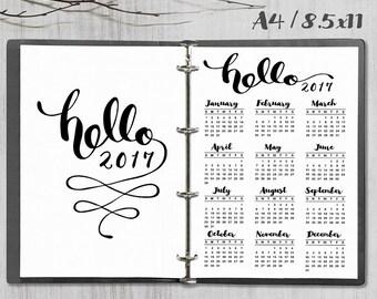 Printable 2017 Calendar, Hello 2017 Calendar, A4 - 8.5x11 2017 Calendar planner inserts, PDF file