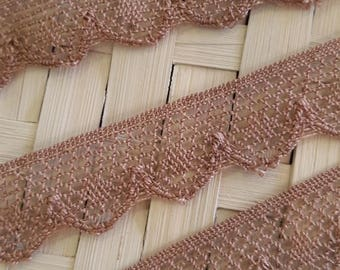 Taupe colored FishNet style cotton lace
