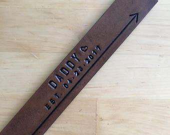 Leather Bookmark Dad Daddy Established Date with Heart Dad to Be Gift Father to Be Gift - Love That Leather