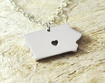 Iowa Necklace alloy 925 sterling silver necklace heart necklace Pendant State Necklace State Charm Map necklace Map Jewelry