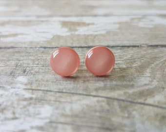 Blush earrings minimalist, Everyday earrings simple, Blush pink earrings, Cute earrings, Peach earrings stud, Hypoallergenic earrings