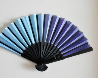 "Small 6"" Blue Hand Fan -Handheld Folding Fan, Japanese Hand Fan ,men hand fan,boys hand fan ,folding fan"