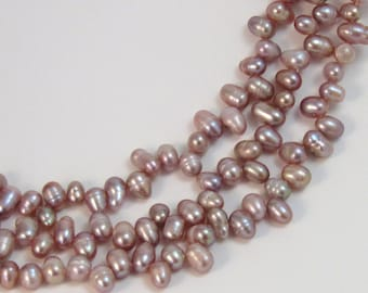 Natural Purple Top Drilled Freshwater Cultured Pearls, 7mm, TWO Strands, Unique Shape, #2587