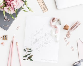 DIGITAL Calligraphy Packet, Guide, Modern Calligraphy, hand lettering, Download, learn calligraphy, whimsical, workshop