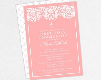 First Communion Invitation, First Holy Communion Invitation, Religious, Print, PDF, DIY Communion Invite, Floral, Lace, Damask, Pink, Maura