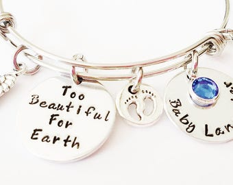 Memorial Bracelet - Too Beautiful For Earth Bracelet, Remembrance Jewelry, Child Loss Jewelry, Mom of An Angel Jewelry, Sympathy Gift