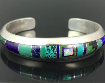 Turquoise, Lapis, Sugilite, Opal Mosaic Inlay Cuff Bracelet Sterling Navajo Signed - Tommie Charlie
