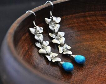 Silver Dogwood Earrings with Turquoise Gemstones/ Dogwood Flowers Earrings/ Long Dangly Earrings/ Gemstone Earrings