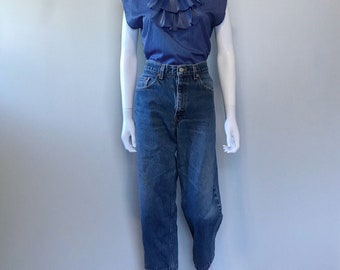 Vintage 70s Blue and White Stripe Shirt