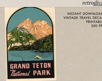 Grand Teton National Park - Wyoming - Tetons - Vintage Travel Decal - Instant Download