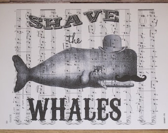 whimsical shave the whales coastal chic vintage sheet music