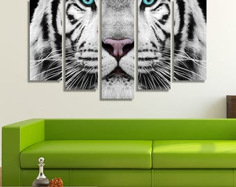 LARGE XL White Tiger Canvas Print Close-up Face Canvas Blue Eyes Canvas Black and White Animal Wall Art Print Home Decoration - Stretched