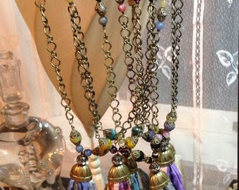 Boho Sari Silk Tassel Necklace