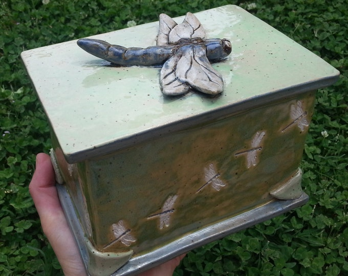 Featured listing image: Custom Cremation Urn - Hand-built Stoneware Cremains Box - CHEST w/ Hand-Molded Element