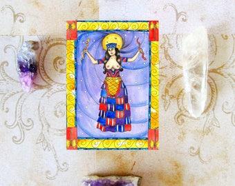 Goddess Art Print Goddess Gift Minoan Snake Priestess Prayer Card Fantasy Art Greek Mythology Mystical Sacred Divine Feminine Spiritual Art