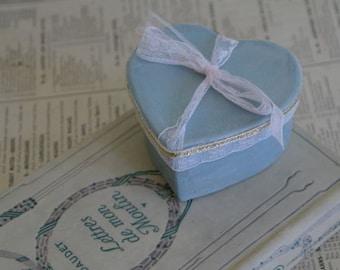 Small Pale Blue Heart Shaped Gift Box. Wedding Favour, No11, 7cm x 4cm.