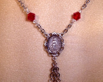 Handmade 18inch swarovski necklace with Silver Miraculous Medal