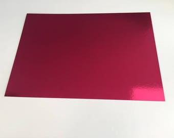 A4 cardstock holographic effect mirror - plain without patterns - color bright - fuchsia