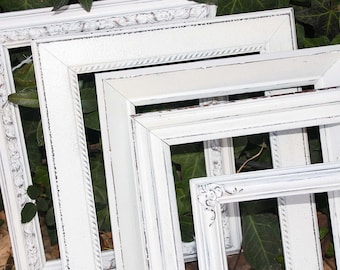 Frame Set Of 7 In Mix Of Sizes 1-16x20 2-11x14 & 4-8x10 Painted Frames White Hand Painted Distressed Made To Order