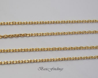 2 Meters, 235 4DC, Diamond Cut Cable Chain, 16k Gold Plated Brass Chain,  Basic Fashion Jewelry Chain, Quality Chain