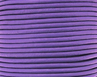 Leather thong 2 mm round lilac sold by 20 cm