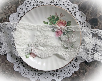 Reneabouquets Trim- 3 Inch Wide Timeless Lace In White, Embroidery,  Venice , Bridal, Costume Design, Lace Applique, Crafting