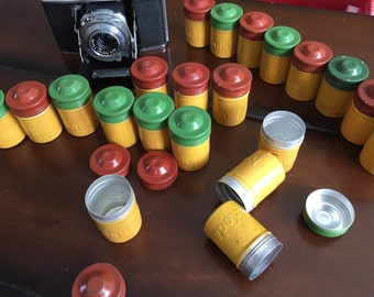 Trio of Kodak Aluminum Film Canisters 1950s Vintage Photography Yellow and Green and Brown 35mm Film Tins