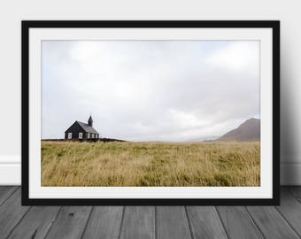 """Iceland Landscape Photography Print, Large Wall Art, Fine Art Photography- """"The Little Black Church by the Sea"""""""