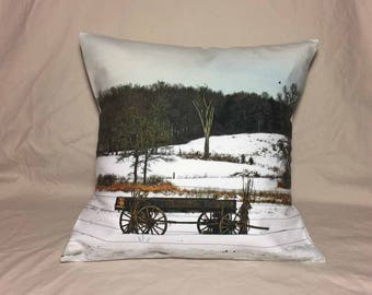 Vintage Wagon in a Field Of Snow Photo Pillow Cover
