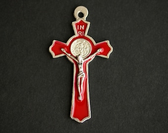 Red Enamel Cross in Silver. Italian St Benedict Cross Charm. Rosary Cross. Rosary Supplies. 50x27mm Red Crucifix  (1 pc)