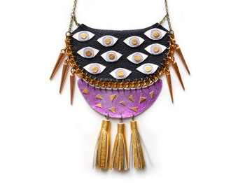 Eye Necklace, Statement Necklace, Eye Bib Necklace, Gold Tassel Necklace, Geometric Necklace, Leather Fringe, Eye Jewelry, Purple Necklace