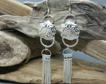 Tassel earrings, handmade silver earrings, chandelier earrings, dangly earrings, boho jewellery, statement jewellery, sterling silver