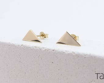 Triangle Earrings, Gold Yellow Earrings, Polished Triangle Earrings, Gift For Valentine, Geometrical Earrings, Gold Shape Earrings