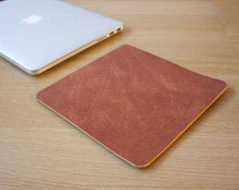 Tan Leather Mouse Pad Leather Desk Pad Handmade in London Custom Sizing Available