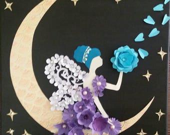 Fairy silhouette art, moon fairy art, moon fairy blowing flower petals, nursery art, fairy tale art, fantasy art, kids room art, child gift