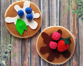 Felt Pancakes and Fruits Play Food Set, Kids Birthday present, Toy kitchen pretend play accessory for imaginative play, quiet toy