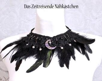 Feder-Collier, Halskette mit Federn, Halsband, Choker, Gothic, Victorianisch, Steampunk