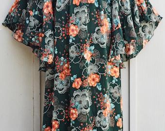 Forest Green Angel Sleeve Dress - Long Sleeve Maxi Dress - Flowy 70s Dress - Long Bohemian Dress - 1970s Boho Dress - Floral Hippie Dress