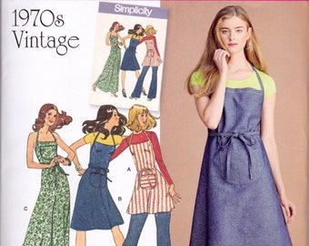 Simplicity 8073, Uncut Sewing Pattern, Apron Dress, 1970's Vintage Reproduction Pattern, Misses' Sizes 4-12