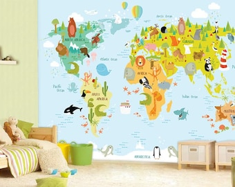 World Map Wall Mural, Children Map With Animals, Wallpaper, Wall Décor, Wall