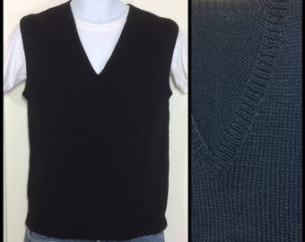 Vintage 1940's WWII WW2 American Red Cross hand knit wool sweater vest looks size small black A.R.C. arc