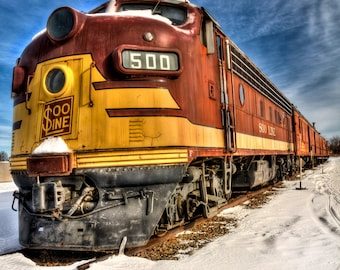 Train Photography, Locomotive, Old Train Photo, Fine Art Print, Photo Card, Winter, Vintage Style, Red Yellow Blue, Wisconsin, Gift for Him