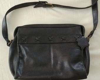 "Black Leather ""X"" Purse"