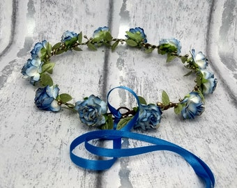Blue and gold flower crown, royal blue, hair garland, hair wreath, bridal, flower girl, flower crowns, blue hair garlands, UK seller, party