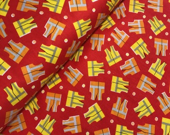Construction Vests in Red from The Big Dig Collection by Whistler Studios for Windham Fabrics, Construction Vehicles, Trucks, 42926 4