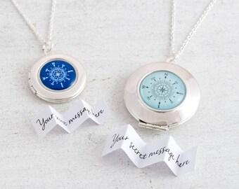 Compass Necklace Locket, Custom Locket, Wanderlust Necklace, Compass Pendant, Silver Locket, Graduation Gift, Message Locket, Travel Jewelry