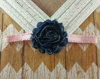 Denim flower headband, denmin and pink headband, baby headband, infant headband, going home outfit, country baby headband, cowgirl headband