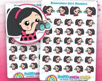 34 Cute Binoculars/Watching/Happy Mail Girl Planner Stickers, Filofax, Erin Condren, Happy Planner,  Kawaii, Cute Sticker, UK