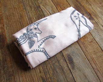SIlk Blend Printed Folk Unicorn Scarf Lt.Pink/Gray